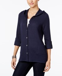 Style And Co Co. Petite Hooded Knit Jacket Only At Macy's Industrial Blue