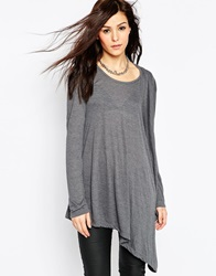 Religion Side Draped Long Sleeve Top Lightgreymelange