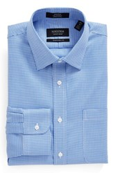 Nordstrom Men's Big And Tall Men's Shop Traditional Fit Non Iron Micro Houndstooth Dress Shirt Blue Wedgewood