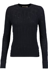 J Brand Textured Knit Cotton Sweater Midnight Blue