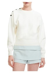 Maje Snap Button Sweatshirt Ecru Blue Sky