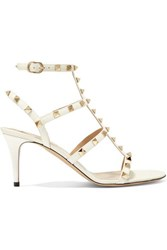 Valentino Garavani The Rockstud Patent Leather Sandals Ivory