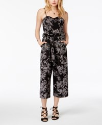 Emerald Sundae Juniors' Puff Paint Jumpsuit Black Grey