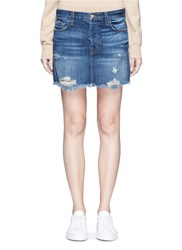 J Brand 'Bonny' Frayed Hem Denim Skirt Blue