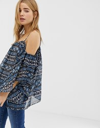 Qed London Cold Shoulder Top In Border Print Multi