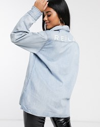 Replay Denim Shirt With Logo Print On The Back Blue