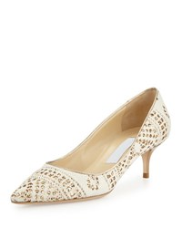 Jimmy Choo Aza Sparkle Embellished Knit Pump White Honey Gold