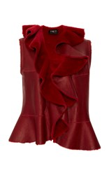 Paule Ka Ruffled Shearling Peplum Vest Red