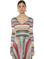 Missoni V Neck Light Ribbed Knit Sweater Multicolor