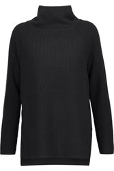 Vince Ribbed Wool And Cashmere Blend Turtleneck Sweater Black
