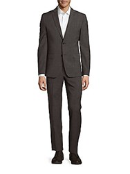 Versace Wool Blend Textured Suit Black