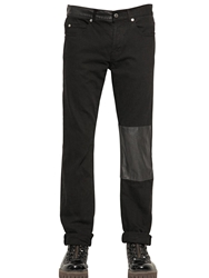 Mcq By Alexander Mcqueen 18Cm Faux Leather And Denim Jeans Black