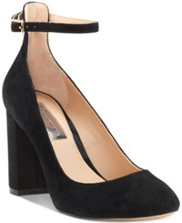 Inc International Concepts Gallan Ankle Strap Pumps Created For Macy's Women's Shoes Black Suede