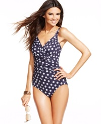 Inc International Concepts Polka Dot One Piece Swimsuit Women's Swimsuit Navy