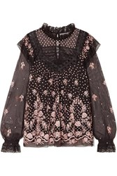 Needle And Thread Eclipse Lace Trimmed Embroidered Tulle Blouse Charcoal