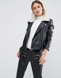 Y.A.S Ash Leather Jacket With White Faux Fur Collar Black