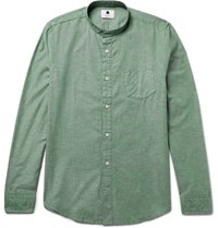 Nn.07 Nn07 Samuel Slim Fit Grandad Collar Cotton And Linen Blend Oxford Shirt Green