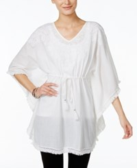 Styleandco. Style And Co. Cinched Waist Embroidered Poncho Only At Macy's Beach Bum White