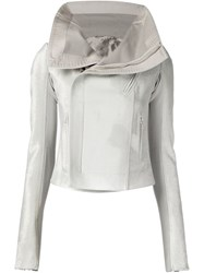 Rick Owens Funnel Neck Biker Jacket White