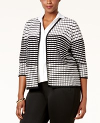 Charter Club Plus Size Textured Open Front Cardigan Only At Macy's Deep Black Combo