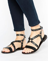 Park Lane Leather And Stud Strappy Flat Sandal Blk Leather Studs Black