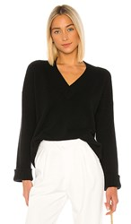 Autumn Cashmere Boxy V Wide Sleeve Sweater In Black.