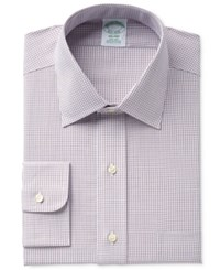 Brooks Brothers Men's Milano Slim Fit Non Iron Brown Micro Check Dress Shirt