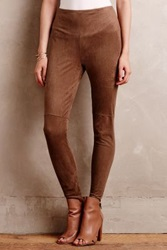 Anthropologie Vegan Suede Leggings Bronze