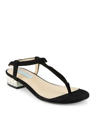 Betsey Johnson Evie T Strap Suede Thong Sandals Black