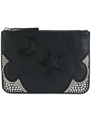 Mcq By Alexander Mcqueen Moon And Star Embossed Clutch Women Leather Metal Other One Size Black