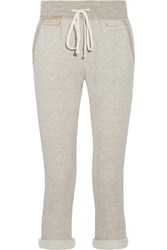 James Perse Cotton Blend Terry Track Pants Light Gray