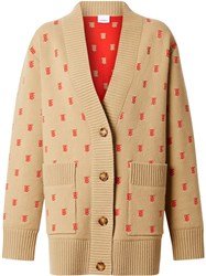 Burberry Monogram Wool Cashmere Blend Oversized Cardigan Neutrals