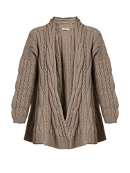 Queene And Belle Lou Lou Cable Knit Wool Cardigan Beige