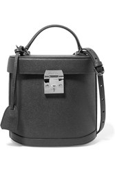 Mark Cross Benchley Textured Leather Shoulder Bag Charcoal