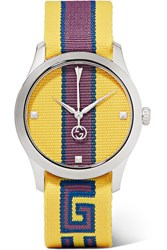 Gucci Striped Canvas And Stainless Steel Watch Yellow Gbp