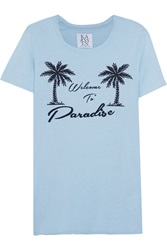 Zoe Karssen Welcome To Paradise Printed Cotton And Modal Blend T Shirt