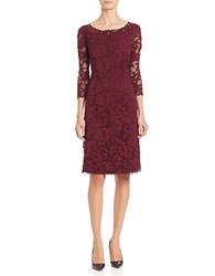 Ellen Tracy Petites Lace A Line Dress Dark Purple