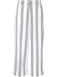 Shades Of Grey By Micah Cohen Striped Cropped Trousers White