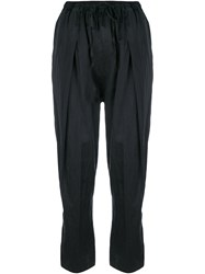 Andrea Ya'aqov Cropped Pleated Trousers Black