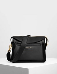 Charles And Keith Top Flap Satchel Black