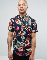 Another Influence Bright Palm Shirt Navy