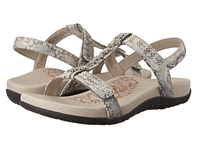 Aetrex Molly Adjustable T Strap Snake Women's Dress Sandals Beige