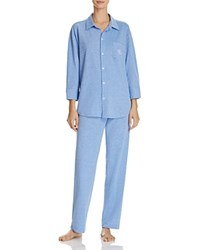 Ralph Lauren Classic Pique Long Pajama Set Blue