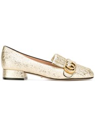 Gucci Gg Vamp Fringe Loafers Metallic