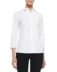 Lafayette 148 New York Charmaine 3 4 Sleeve Blouse White