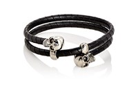 Alexander Mcqueen Men's Skull Double Wrap Bracelet Black