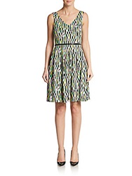 Calvin Klein Belted Fit And Flare Print Dress Mint Multi