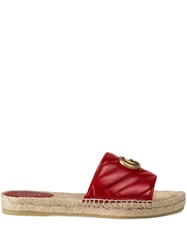 Gucci Leather Espadrille Sandal Red