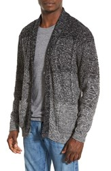 Men's Original Paperbacks 'Boston' Colorblock Mixed Knit Shawl Collar Cardigan Smoke