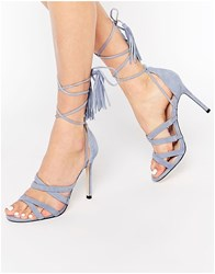 Faith Daft Pale Blue Suede Ghillie Tie Up Heeled Sandals Pale Blue